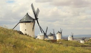 "Don Quixote's ""giants"" in the Spanish countryside."